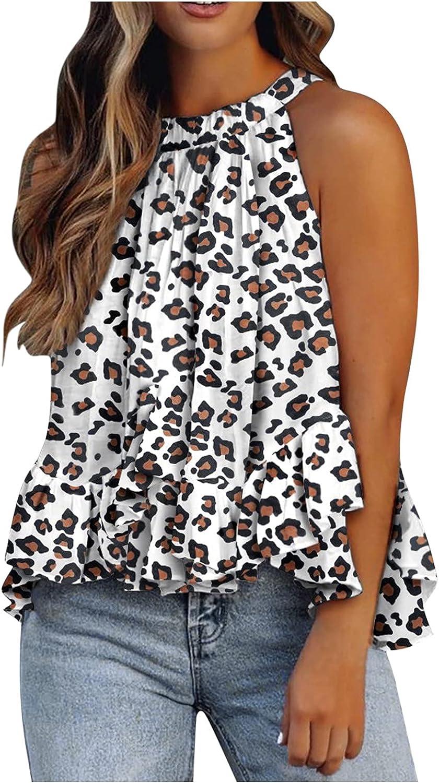 Jumaocio Women's Vest Tops Summertime Fashion O-neck Layered Ruffles Print Sleeveless Tank Blouse Top