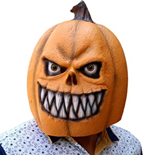 CreepyParty Deluxe Novelty Halloween Costume Party Props Latex Pumpkin Head Mask (Pumpkin New) Yellow