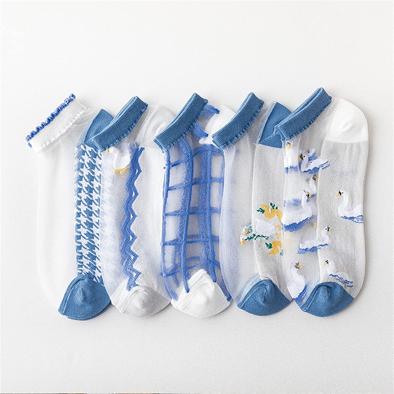 QINGOU Women's Lace Elastic Short Socks,Women'sNon Slip Liner Socks for Loafer Heel Flat (Color : B, Size : 5PCS-One Size)