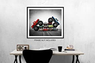 Vintage Monster Trucks Car Crush Blue Ford Vs. Awesome Kong, Boys room Wall art, Photo Decor, Monster truck room, Nursery decor, Kids Room Wall Art.