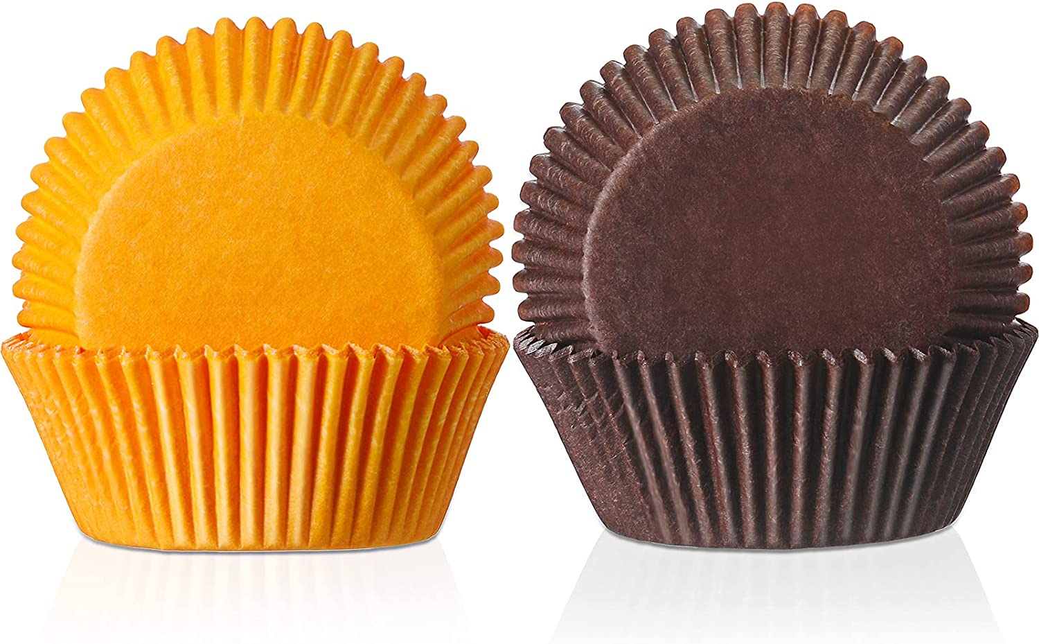 40 Pieces Baking Indefinitely Large-scale sale Cups Cupcake Brown Ho and Liners Orange