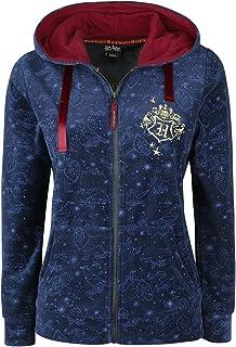 Harry Potter Blason Poudlard Femme Sweat-Shirt zippé à Capuche Bleu foncé, , Regular / Coupe Standard