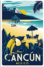 Cancun Mexico Travel Advert retro style metal wall sign plaque beach holiday