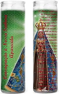 Gifts by Lulee, LLC Nuestra Senora de la Aparecida Patrona de Brazil Set 2 Veladoras con Imagen y Oracion