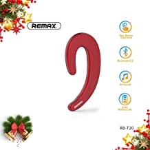 REMAX Upgraded Bluetooth Earpiece Noise Cancelling Earbuds, Minimalist Wireless Ear Hook Business Headset Non in Ear Headphone Compatible for Cellphone, Smartphone (Red)