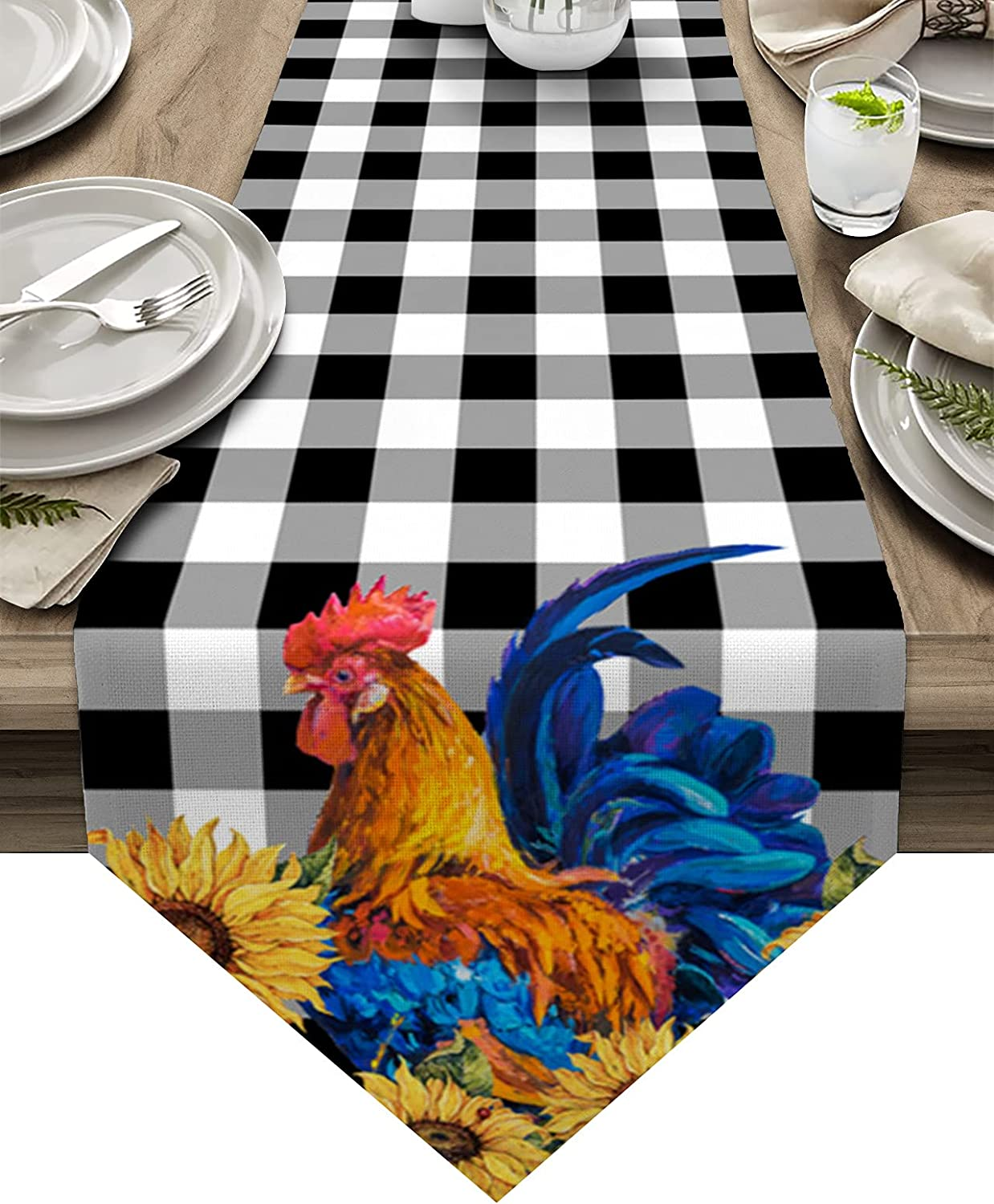 Dining Table Denver Mall Runner 108 inches Sunflower Rooster Wood Indianapolis Mall Long Farm