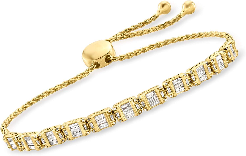 Ross-Simons 1.00 ct. Ranking TOP6 t.w. Diamond Rare Bolo 18kt Bracelet in Gold Ove