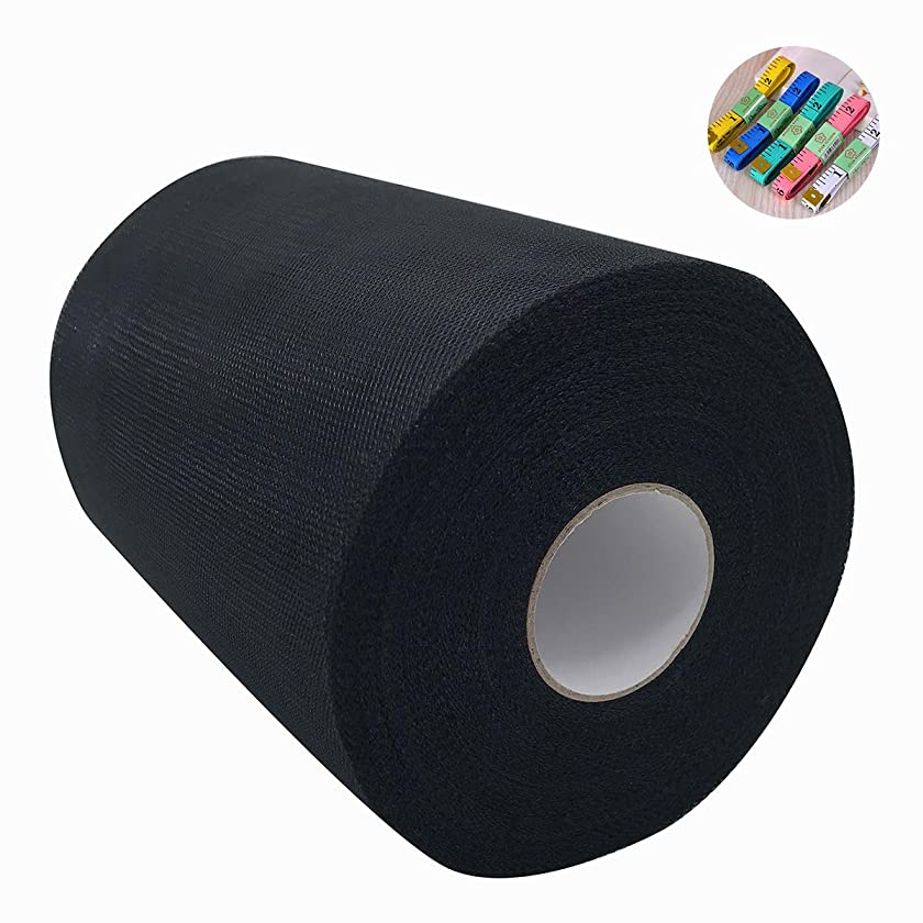 Saim Tulle Rolls 6 Inch x 100 Yards (300 Feet) Tulle Fabric Spool Table Tutu Skirt Dress Chair Sash Bow Decoration with Body Measuring Ruler for Wedding Party Festival DIY Craft Gift Ribbon (Black)
