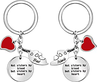 JJIA 2Pcs Best Friend Keychains Keyrings for Women Girls Sister Christmas Birthday Gifts, Silver, Large