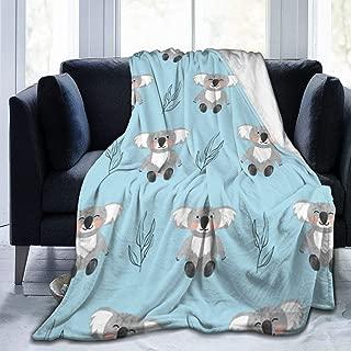 "Fleece Blanket 50"" x 60""-Cute Watercolor Koala Bears Home Flannel Fleece Soft Warm Plush Throw Blanket for Bed/Couch/Sofa/Office/Camping"