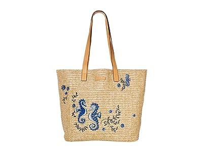Vera Bradley Front Pocket Straw Tote (Natural Sea Life) Tote Handbags