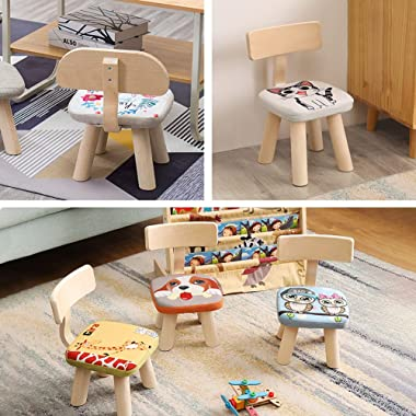 Kelendle 2 PCS Wooden Kids Chair Sets for Playroom Natural Hardwood Animal Children Chairs Toddlers Activity Chairs Stackable