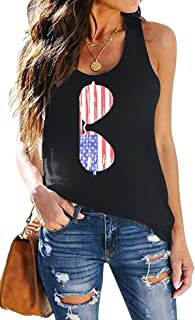 FAYALEQ American Flag Tank Tops Women Merica Letters Sunglass Graphic Tees Casual Sleeveless T Shirt Vest…