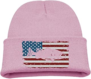 ADGoods Kids Children Patriotic Bass Fishing Beanie Hat Knitted Beanie Knit Beanie For Boys Girls Gorra de béisbol para niños