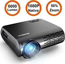 Projector, WiMiUS P20 Native 1080P LED Projector 6000 Lumen Video Projector Support 4K Video Zoom Function ±50°Digital Keystone Correction 70,000 Hrs for Home Entertainment & PPT Business Presentation