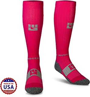MudGear Pink Compression Socks - Premium Quality Over The Calf for Women and Men