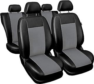 3er Set Saferide Autositzbezüge PKW universal | Auto Sitzbezüge Kunstleder Grau für Airbag geeignet | für Vordersitze und Rückbank | 1+1 Autositze vorne und 1 Sitzbank hinten teilbar 2 Reißverschlüsse
