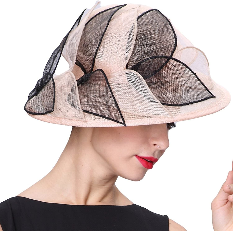 June's Young Women Hats 100% Sinamay Champange Black Sun Hat