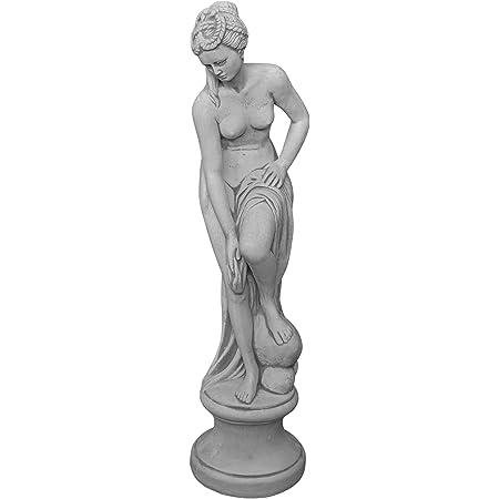gartendekoparadies.de Figure de Pierre Massive Statue Vénus au Bain sur piédestal en Pierre reconstituée, résistant au Gel (Gris)