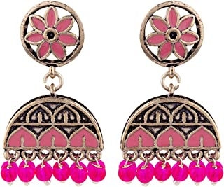 Voylla Rangabati Pink Embellishments Earrings Jewellery For Women