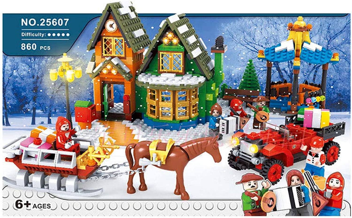 WDXIN Christmas Theme Post Office Building Block Puzzle Assembling Snow House Resort Suitable For Boys And Girls Over 6 Years Old Assembling 860 Pieces Of Building Blocks