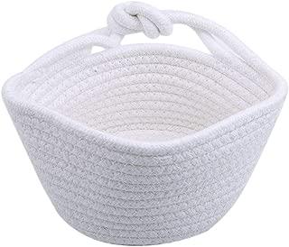 Sheep Shop Nordic Woven Finishing Basket Small Hanging Basket Cotton Rope Folding Basket Weaving Dirty Garment Fruit Basket,White