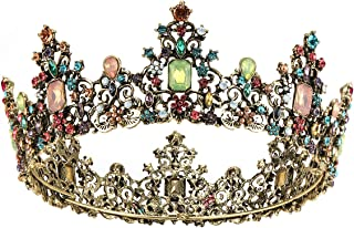Makone Baroque Queen Crown for Womens,Vintage Crowns and Tiaras with Gemstones Girls Hair Accessories for Halloween Costume Prom Bridal Party