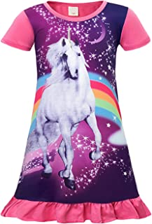 AmzBarley Girls Unicorn Dress Princess Birthday Party Costume Halloween Casual Loose Ruffle Playwear Outfits 3-10 Years