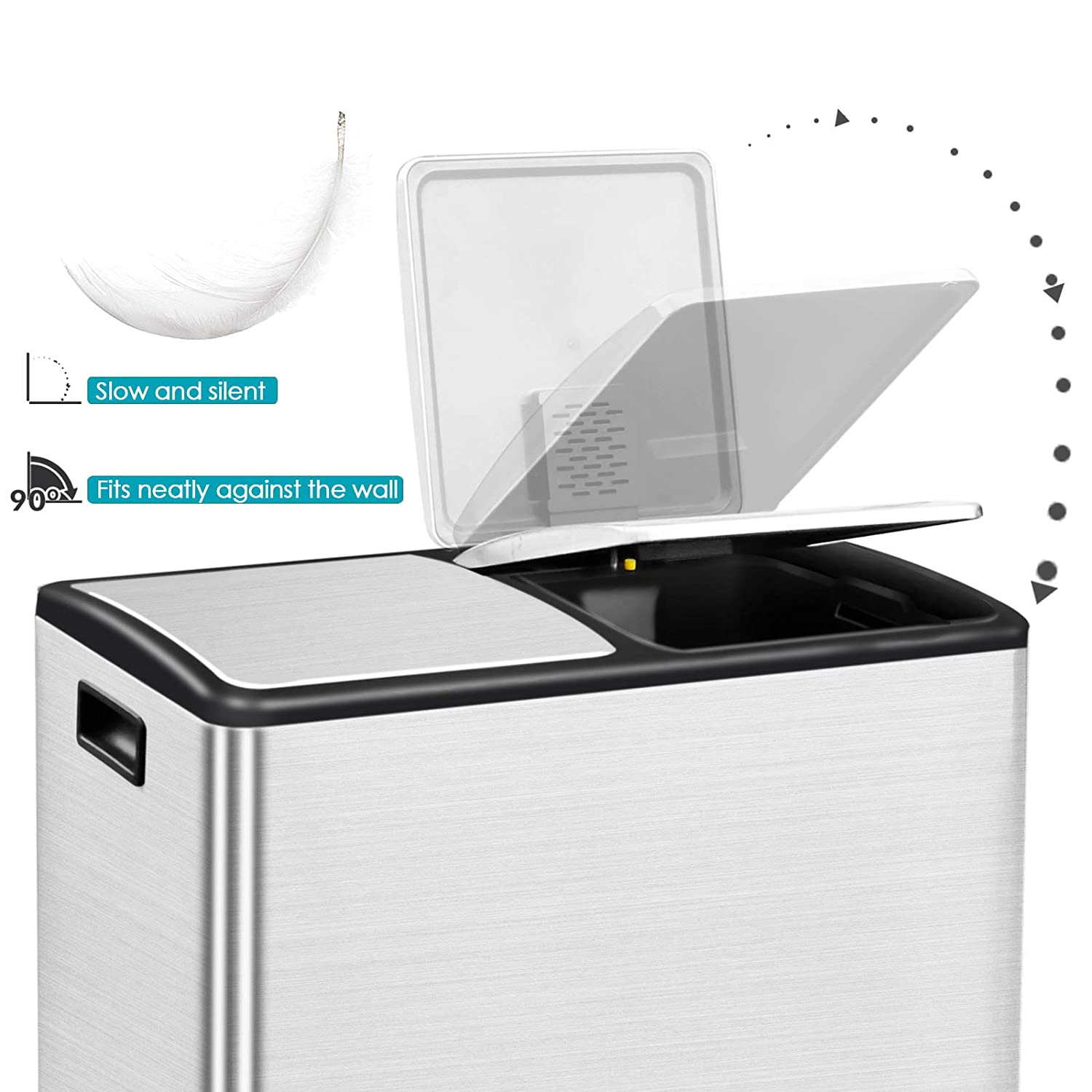 Buy Avv Kitchen Step Trash Can And Recycle Bin Combo Dual Garbage And Recycling Double Compartment Large Stainless Steel 16 Gallon 2 X 8 Gal Online In Indonesia B093w2p7w2
