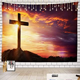 Batmerry Jesus Tapestry, Jesus Christ On The Cross Picnic Mat Hippie Trippy Tapestry Wall Art Meditation Decor for Bedroom...