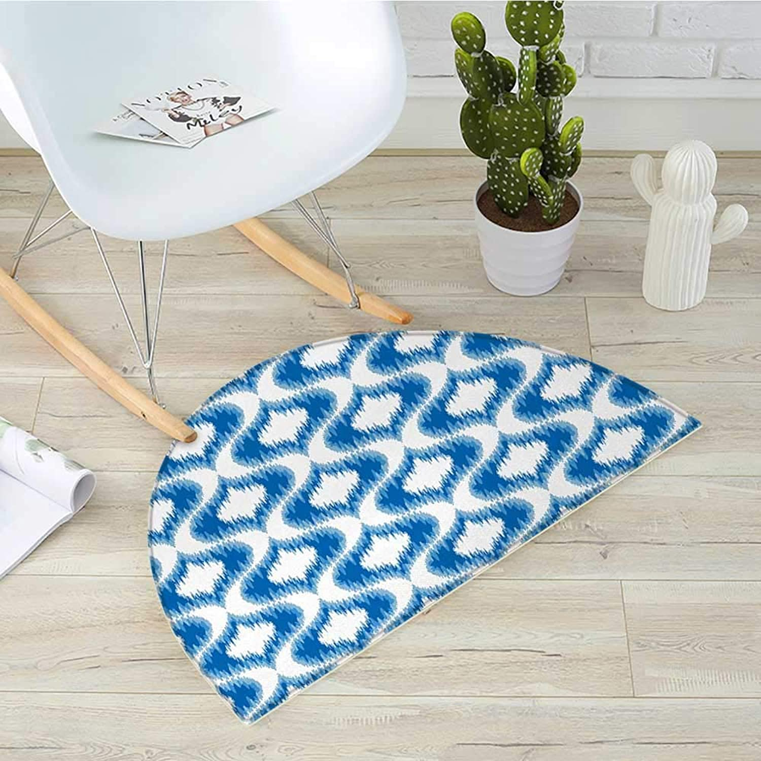 Ikat Semicircle Doormat Ikat Damask Linked Motifs Pattern bluerry Over Finer Tied Warp and Weft Yarns Design Halfmoon doormats H 35.4  xD 53.1  bluee White