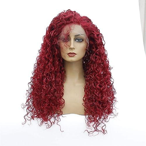 WUX Longue perruque ondulée bouclée avant de lacet perruques cheveux synthétiques pour les femmes Cosplay Costume HalFaibleeen Party rouge 14-26 pouces (Taille   20 in)