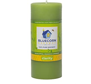 Bluecorn Beeswax 100% Pure Beeswax Aromatherapy Pillar Candle (2x4.5, Clarity: Eucalyptus, Orange & Lavender.)