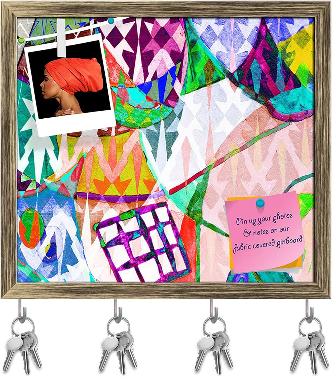 Artzfolio Abstract color Key Holder Hooks   Notice Pin Board   Antique golden Frame 17.8 X 16Inch