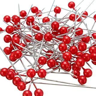 Wetco 800 Pcs 3.5 cm Round Pearl Head Pins Dressmaking Pins Corsage Florists Weddings Sewing Pin (Red)