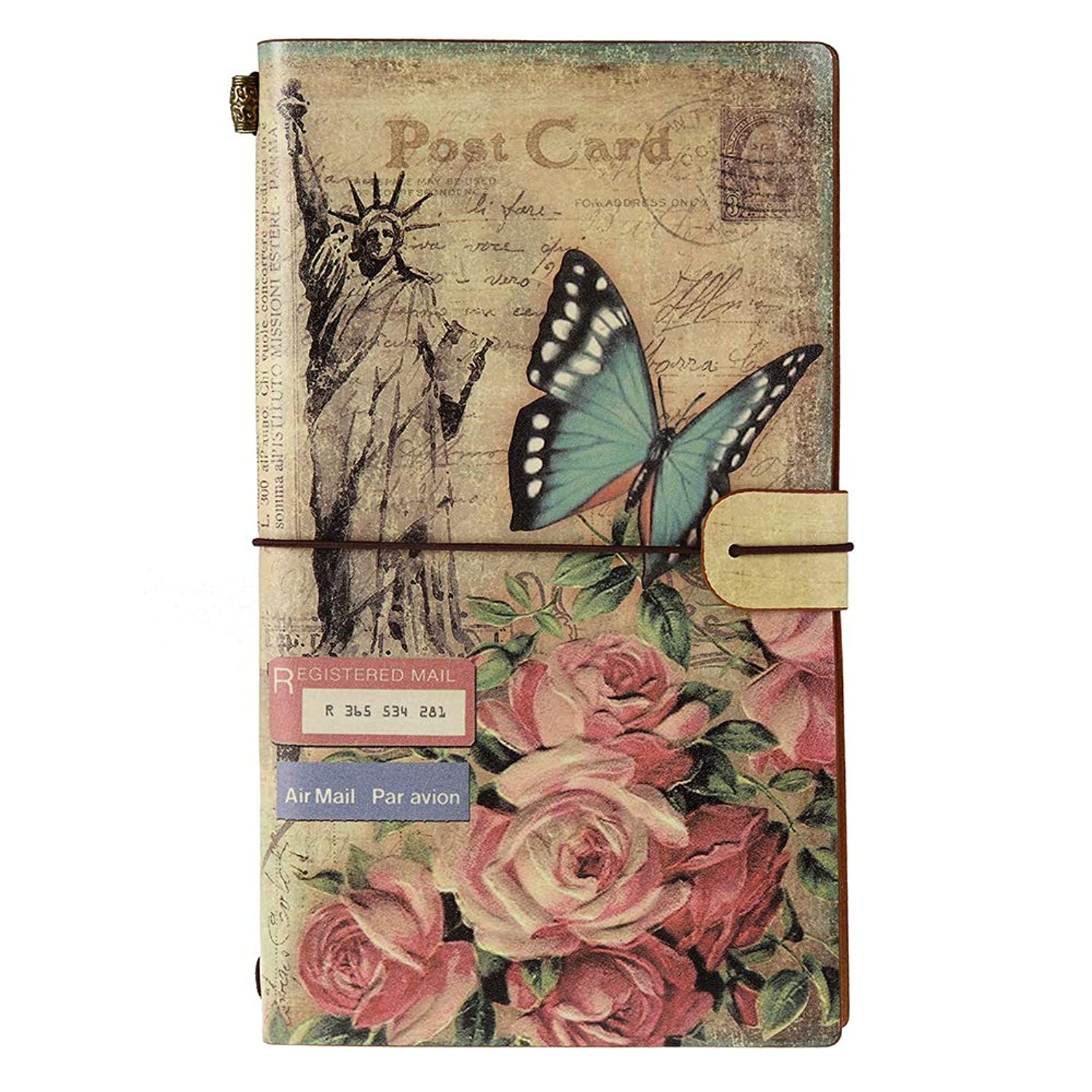 Leather Writing Journal, MaleDen Vintage Traveler's Notebook Refillable Diary Sketchbook with 2 Inserts and Zipper Pocket for Girls Women (Flower)