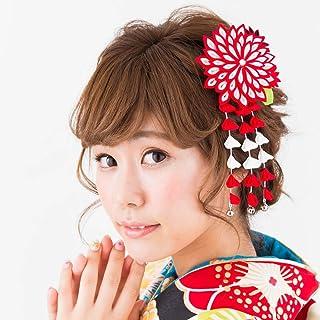 つまみ細工 髪飾り 赤 レッド ドレス 成人式 七五三 浴衣 卒業式 結婚式 かんざし 簪 髪かざり ゆかた 浴衣 通販