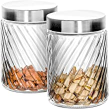 Klikel Glass Canister - Set of 2 Kitchen Containers With Lids - Tight Seal For Flour Sugar Pasta Cereal - Capacity 24oz / 700ml 4 1/4 Inch Diam X 4 1/2 Inch High
