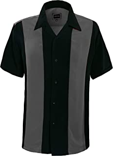 Guytalk Mens Button Down Bowling Shirt, Cuban Style Retro Two Ton Camp Shirt(24 Colors, S-5XL)