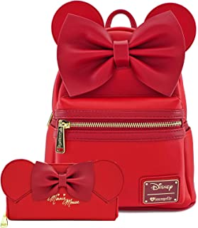 Loungefly Disney Minnie Mouse Ears & Bow Mini Backpack Wallet Set (Red)