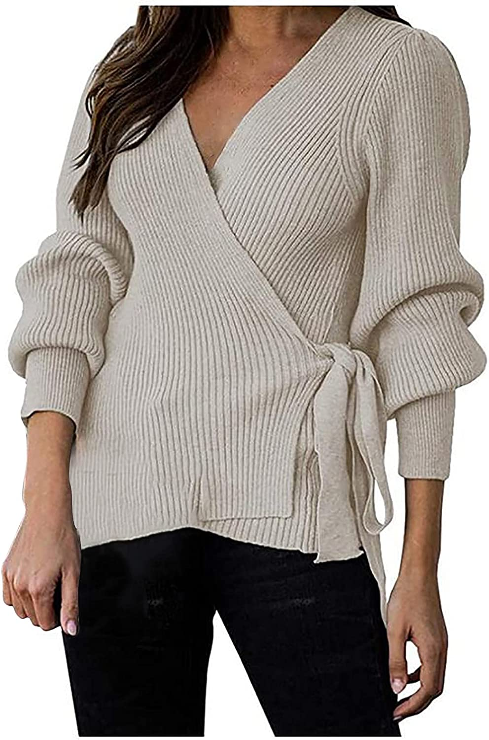 Kanzd Womens Tops Sweaters for Women Fashion V Neck Knitted Wrap Tops Casual Front Tie Sweater Loose Knit Cardigan Tops