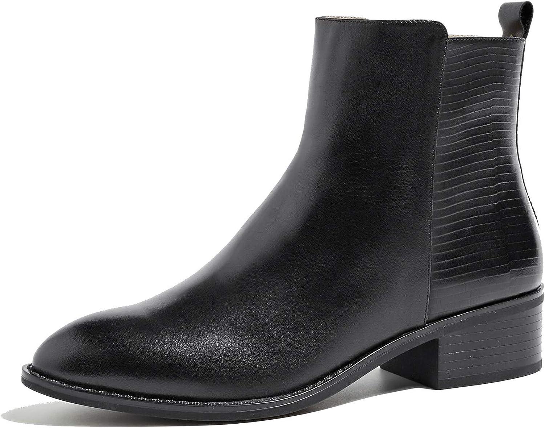 U-lite Womens Unique Block Heel Zipper Ankle Martin Booties Chelsea Boots