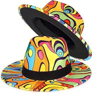 FADACHY Trendy Fedora Hat Wide Brim Felt Hat Dress Panama Two Tone