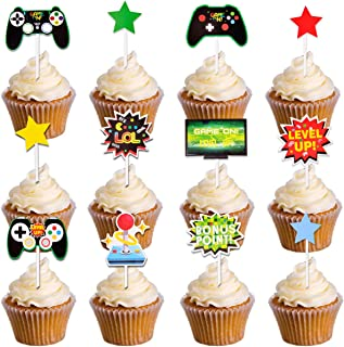 24pcs Mity rain Video Game Controllers Cupcake Toppers-Gamepad Cake Picks Game Themed Birthday Anniversary Wedding Engagement Party Decorations