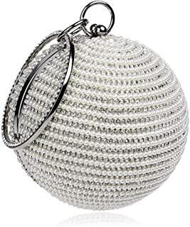 Redland Art Women's Fashion Sparkly Round Mini Clutch Bag Wristlet Evening Handbag Purse Catching Bag for Wedding Party (Color : Silver)