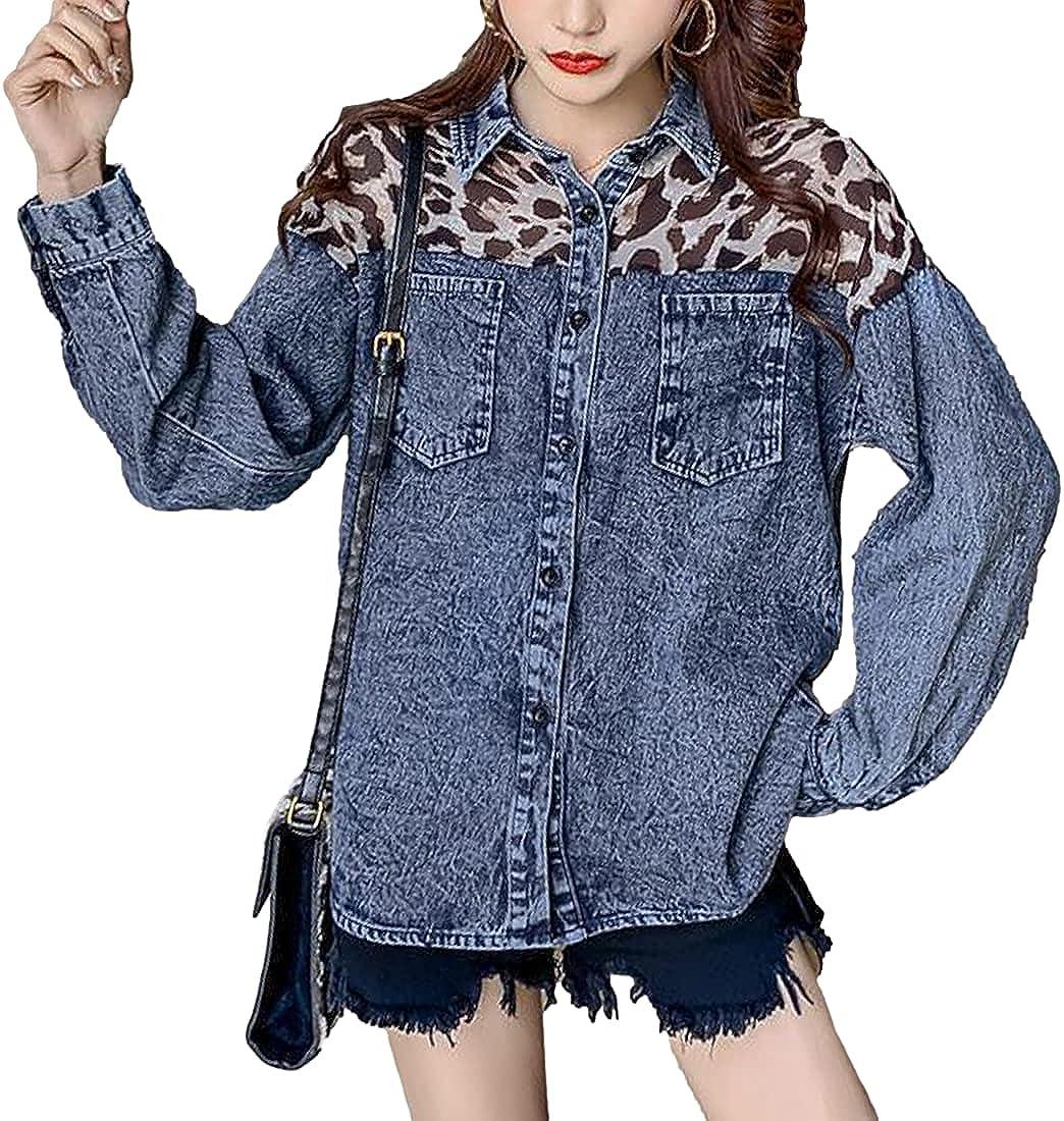 SeekMe Womens Contrast Leopard Mesh Patchwork Denim Jacket Button Down Shirts Jackets