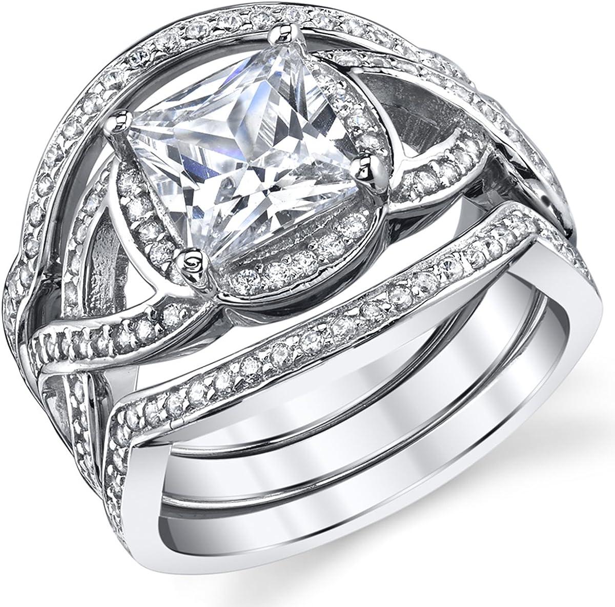 3 Piece Sterling Silver Engagement Nippon regular agency Ring Bridal set Philadelphia Mall 2 Bands W C