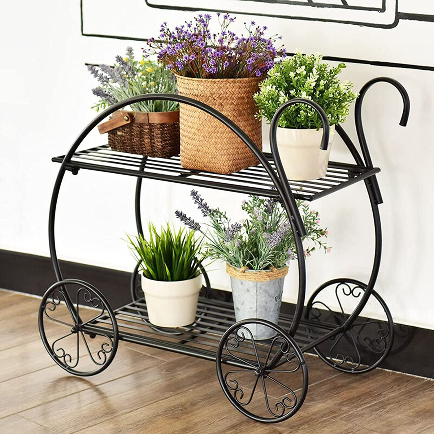 2-Layer Outdoor Plant Stand with Handle Metal Detroit Mall New product! New type Black Cart P Shape