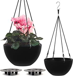 """Self Watering Hanging Planter (10"""" Inch Set of 2)   Hanging Pots for Plants   Outdoor & Indoor Hanging Planters for Outdoo..."""