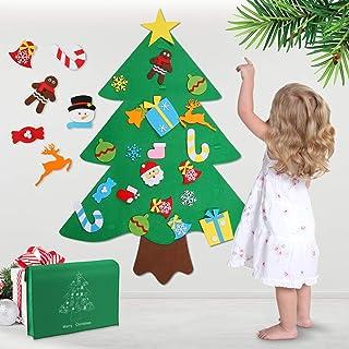 comprar comparacion WOSTOO Árbol de Navidad de Fieltro, 3ft Bricolaje árbol de Navidad de Fieltro con 32 Adornos Desmontables año niños de Par...